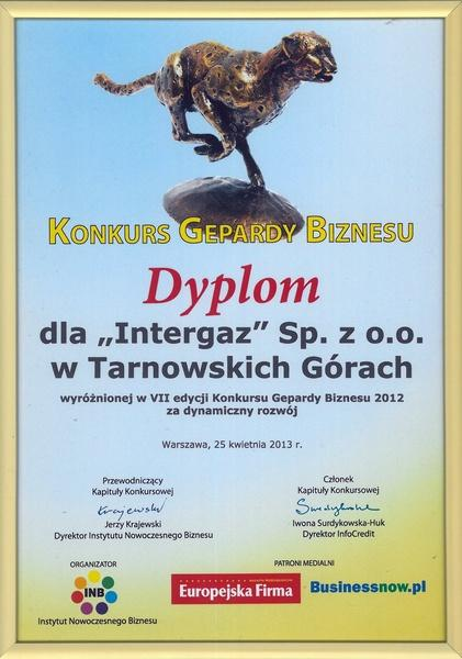 Gepard Biznesu 2012 - Dyplom